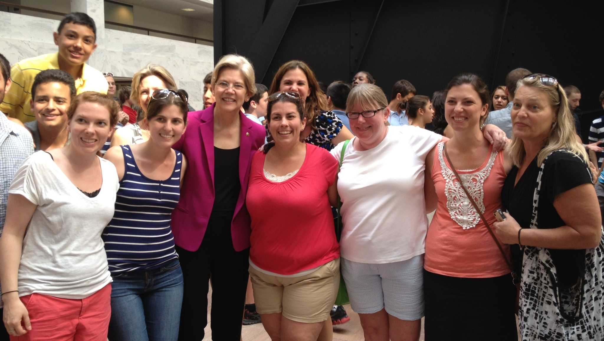 Senator Elizabeth Warren (third from left in pink blazer) met with Watertown Middle School teachers and students during the 2013 trip to Washington, D.C.