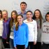 Watertown Town Councilor Aaron Dushku poses with Watertown Splash reporters on April 9. He was interviewed in the Splash newsroom at Watertown Middle School about being a competitor in the Dancing with the Stars fund-raiser for the Watertown Education Foundation on May 1.