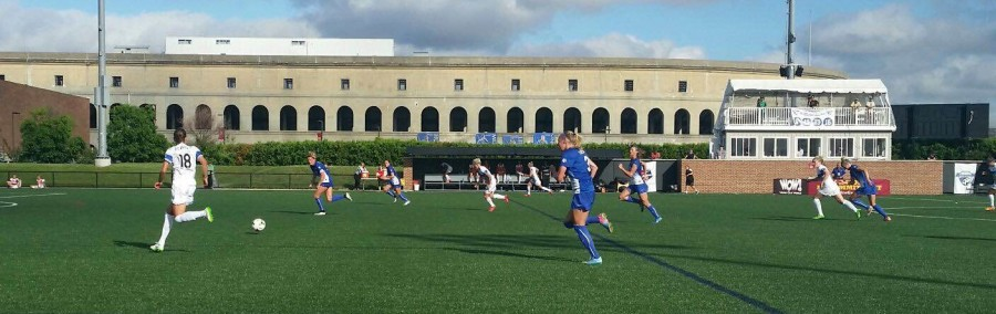 The Boston Breakers and the Seattle Reign compete in a NWSL game at Soldiers Field Soccer Stadium in the shadow of Harvard Stadium on June 21, 2015.