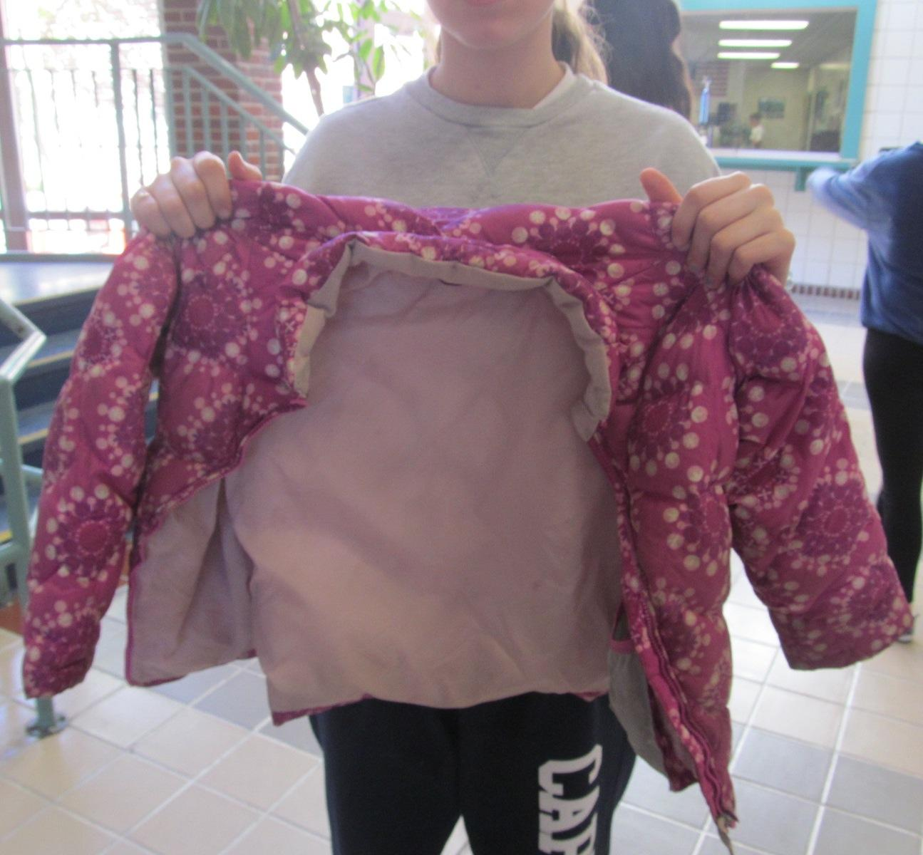 One of the items donated at Watertown Middle School for the annual Coats for Kids drive, which runs until Jan. 8, 2016.