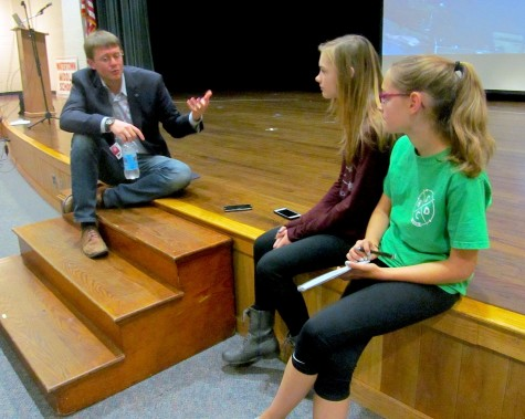 Carl Dietrich of Terrafugia talks flying cars with Watertown Splash reporters before his presentation at Watertown Middle School on Oct. 7, 2015.