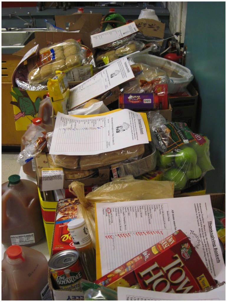Thanksgiving+baskets%2C+filled+with+donations+from+the+Watertown+Middle+School+community%2C+await+delivery+in+the+WMS+cooking+room.