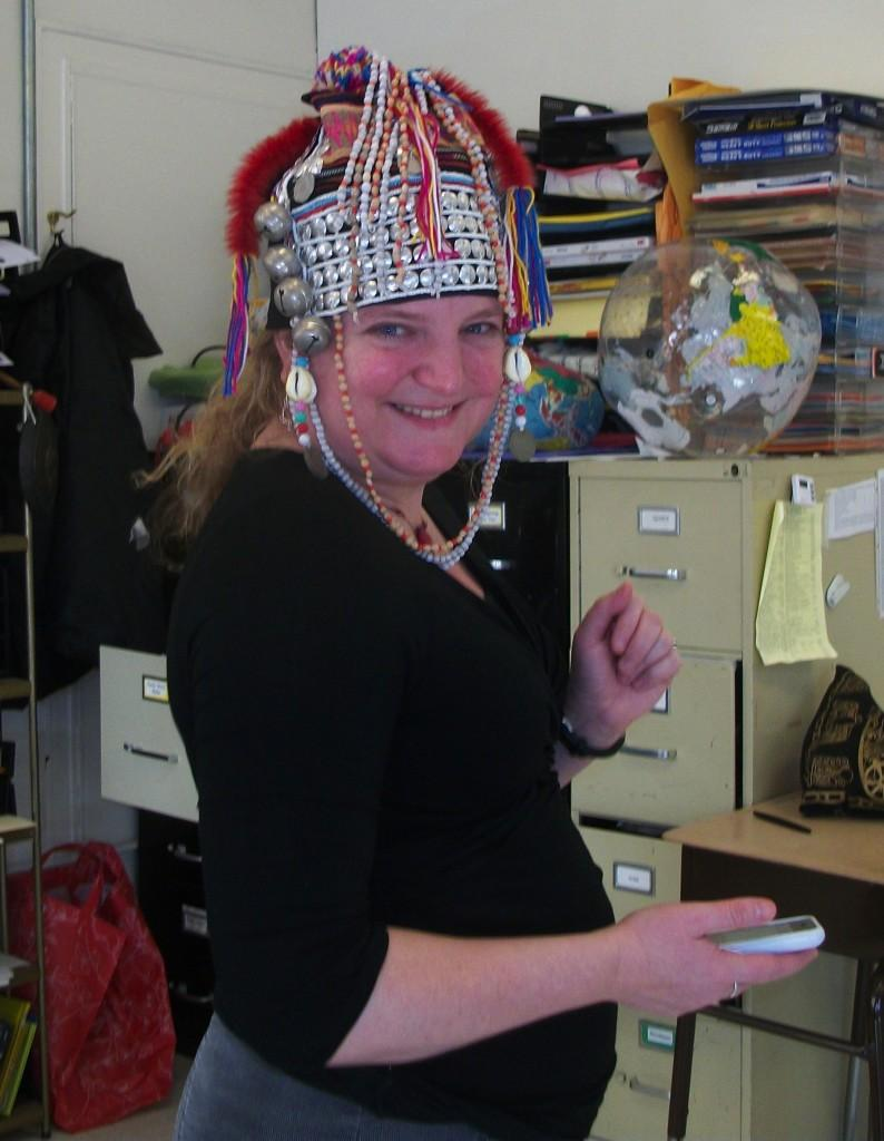 Humanities teacher Lisa McDonagh gets into the spirit of Hat Day during WMS's Spirit Week.