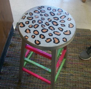 A newly decorated stool belonging to art teacher Elizabeth Donnellan at Watertown Middle School.