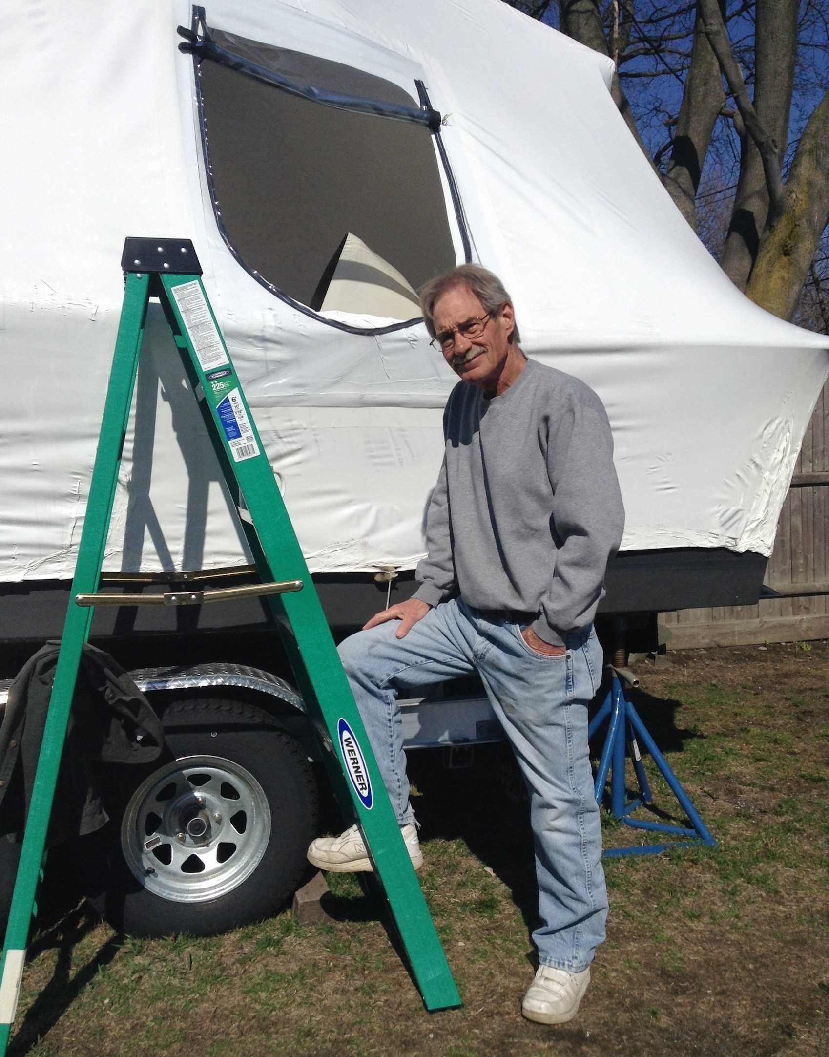 In an exclusive photo to the Watertown Splash, a resident of Franklin Street in Watertown poses with his new boat in April 2014.