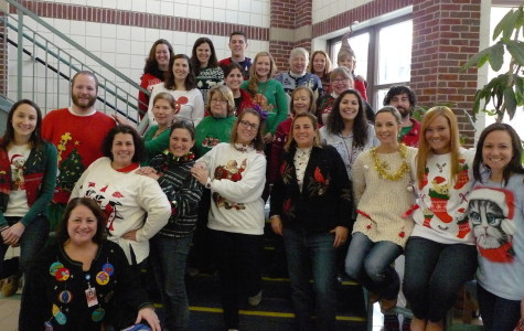 Watertown Middle School staff members show off their holiday spirit at the Winter Concert on Dec. 12, 2014.