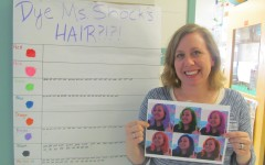 Laura Shock, an eighth-grade humanities teacher at Watertown Middle School, shows off examples of what her hair could like as a result of the current contest, one of the many fund-raisers for the annual Pennies for Patients drive to help the Leukemia & Lymphoma Society in its fight against cancer. This year's drive runs from March 2 to March 23.
