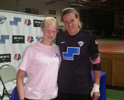 Breakers goalie Alyssa Naeher (right) poses with a Watertown Splash reporter following Boston's 2-1 win over the Washington Spirit on Saturday, Aug. 8, 2015, at Soldiers Field Soccer Stadium.