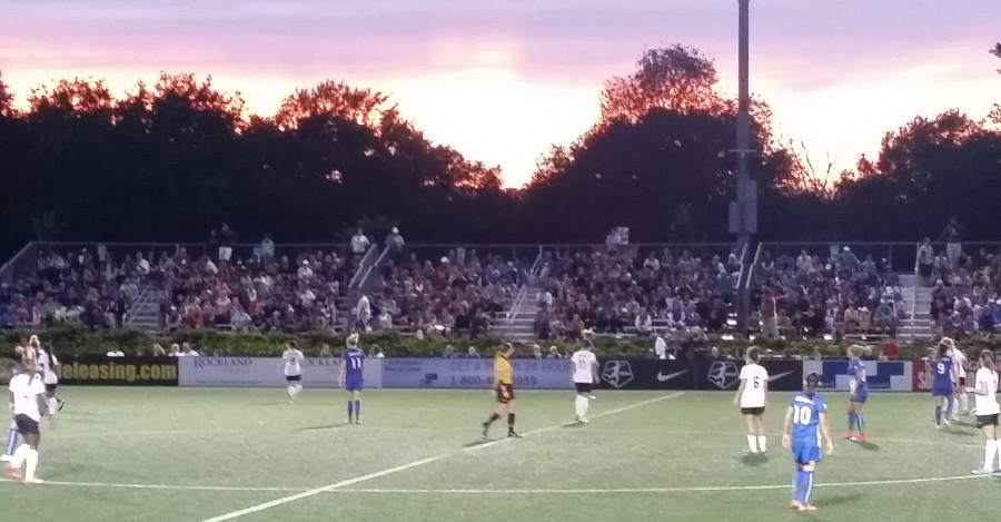 Fans at sold-out Soldiers Field Soccer Stadium enjoy a marvelous sunset during the Breakers'  2-1 win over the Washington Spirit on Saturday, Aug. 8, 2015.