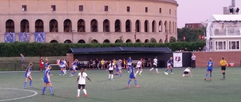Boston and Washington battle in the early going of their NWSL game on Aug. 8, 2015, at Soldiers Field Soccer Stadium, which sits next to Harvard University's football stadium. The host Breakers beat the Spirit, 2-1, in their final home game of the year.