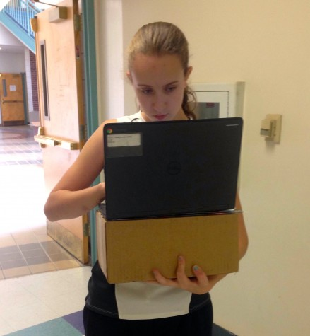 Beginning in September 2015, each eighth-grader at Watertown Middle School has been given a Chromebook to use all day in school.