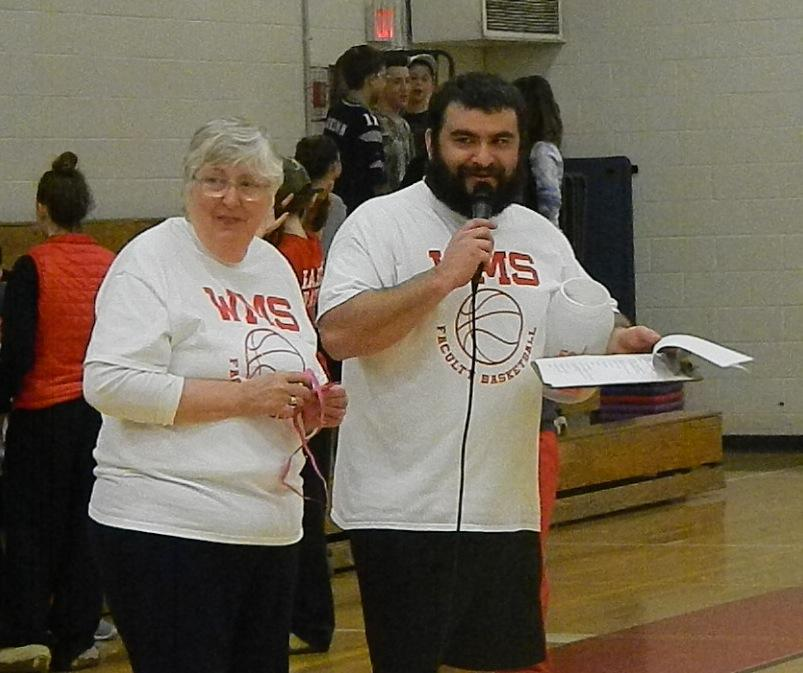 Eleanor Donato and her son Brian at the Student-Faculty basketball game, one of the many Watertown Middle School fund-raisers run as part of Pennies for Patients.