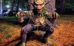 The monsters are happy to pose for pictures at Canobie Lake Park during Screemfest.