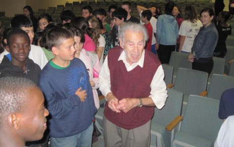 Edgar Krasa -- a prisoner in Terezin and Auschwitz during World War II -- discusses the Holocaust with eighth-graders at Watertown Middle School Oct. 28, 2010.