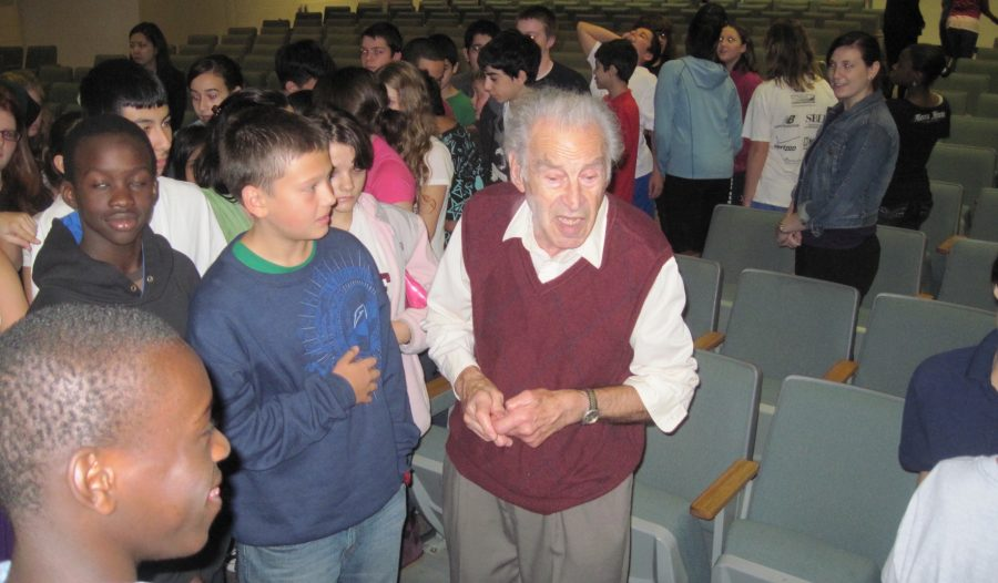 Edgar+Krasa+--+a+prisoner+in+Terezin+and+Auschwitz+during+World+War+II+--+discusses+the+Holocaust+with+eighth-graders+at+Watertown+Middle+School+Oct.+28%2C+2010.