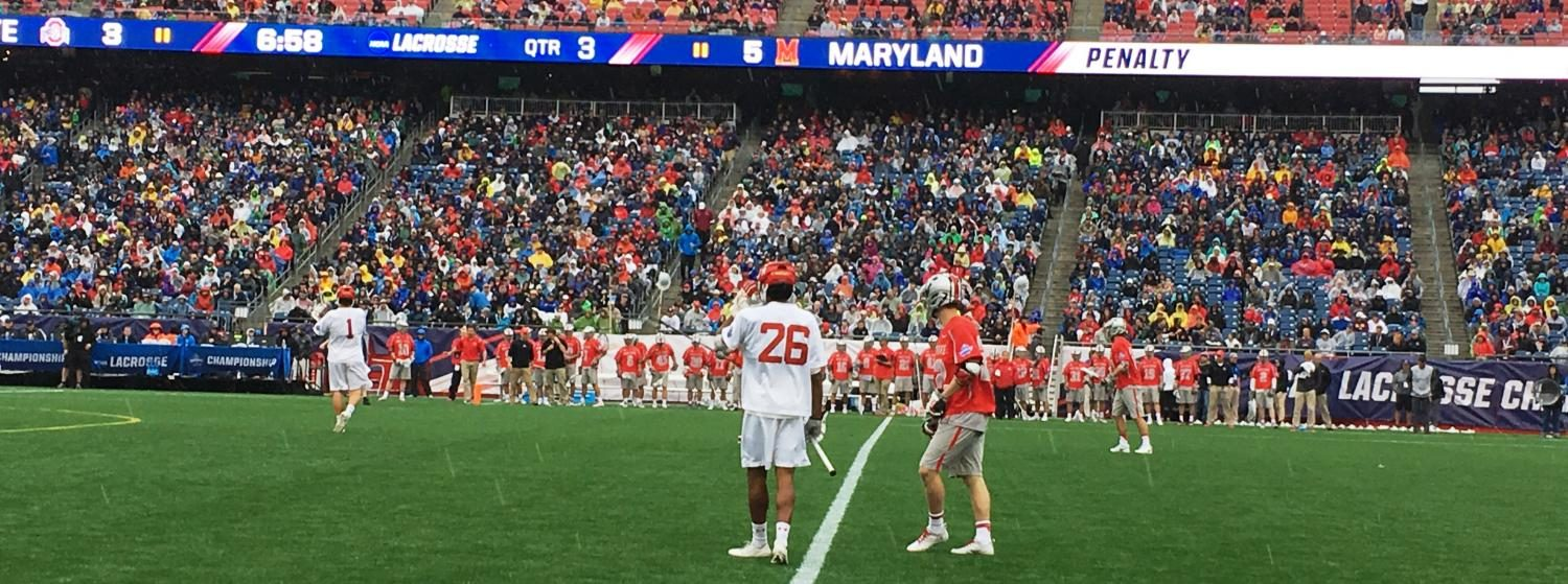 View from the sideline during the NCAA Division 1 national championship lacrosse game between Maryland (in white) and Ohio State on Monday, May 29, 2017, at Gillette Stadium in Foxborough, Mass.