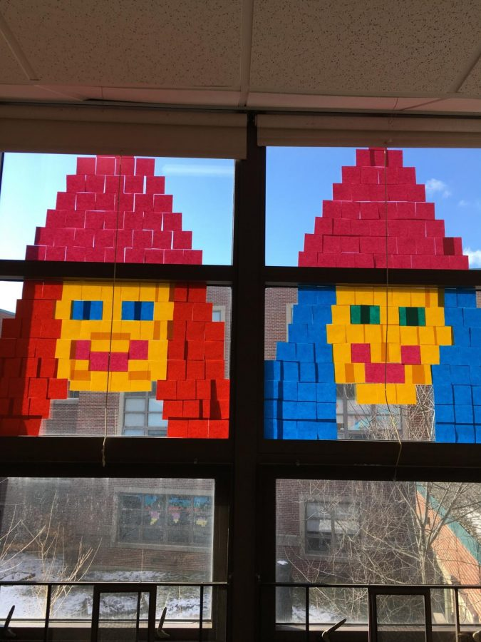 A+window+design+made+with+Post-its+at+Watertown+Middle+School.