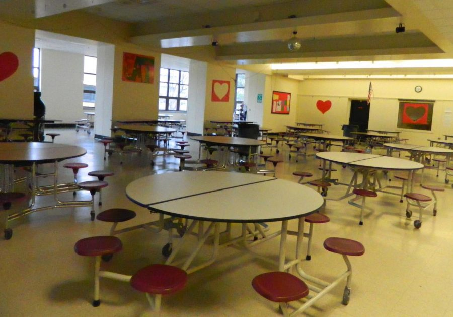 The cafeteria at Watertown Middle School, which gets decorated before each school dance.