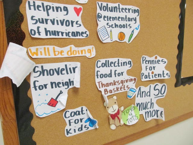 The Community Service board at Watertown Middle School has a lot of opportunities for students to help out.