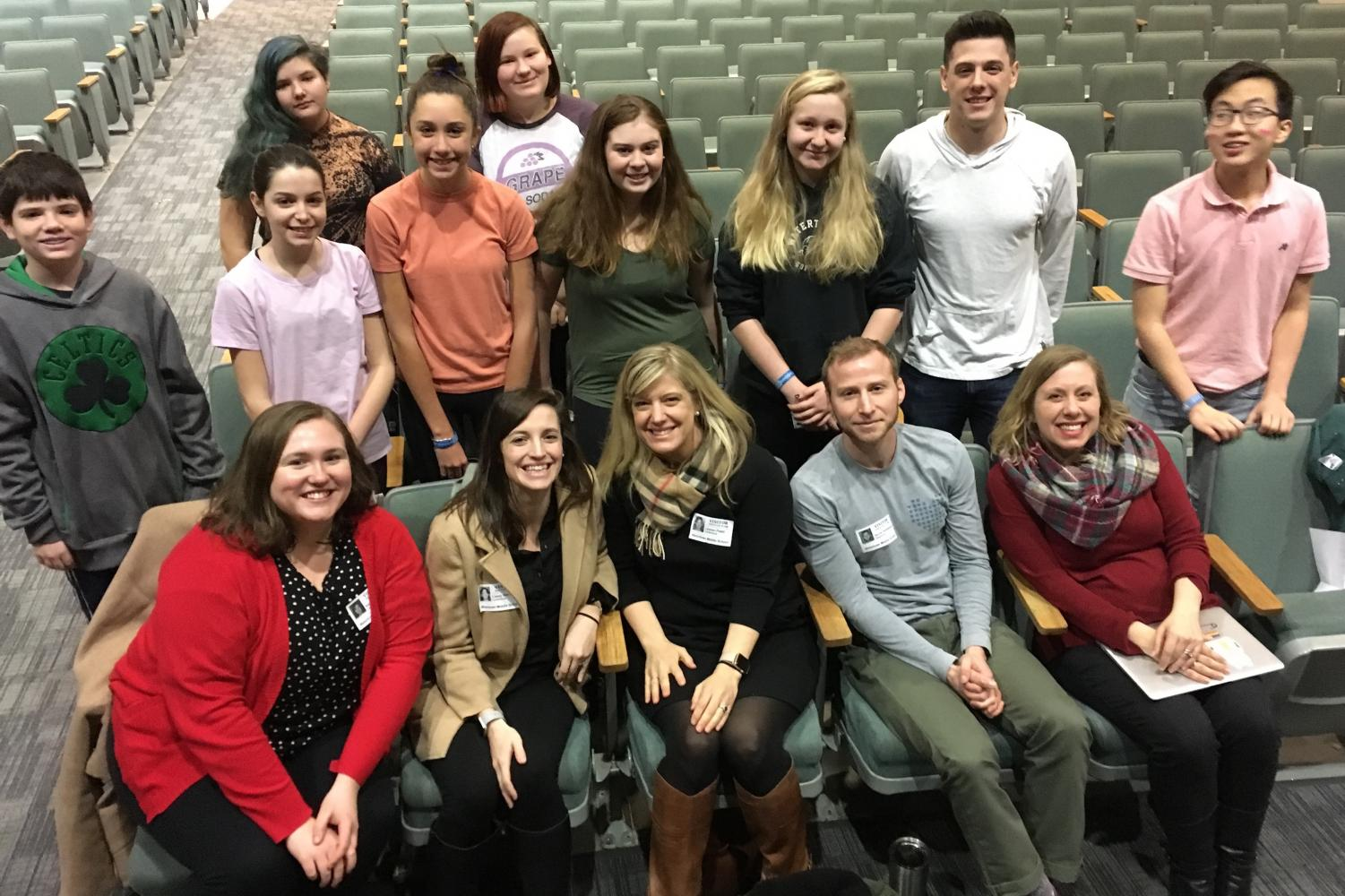 Members of the Watertown Middle School student Leadership Team pose with faculty advisers and representatives from Resilience Gives and the Leukemia & Lymphoma Society after the all-school Pennies for Patients kickoff assembly March 1, 2019.
