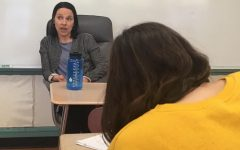 Kellie Spillane answers questions from Watertown Splash reporters about competing in the Dancing with the Stars fund-raiser for the Rotary Club on May 10, 2019.