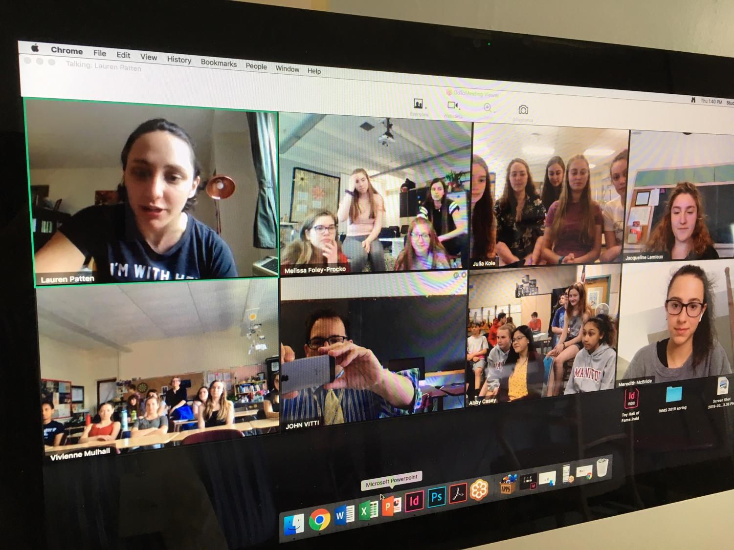 Lauren Patten was in New York City (top left) when she was interviewed by students in classrooms throughout Massachusetts about her career and her role in