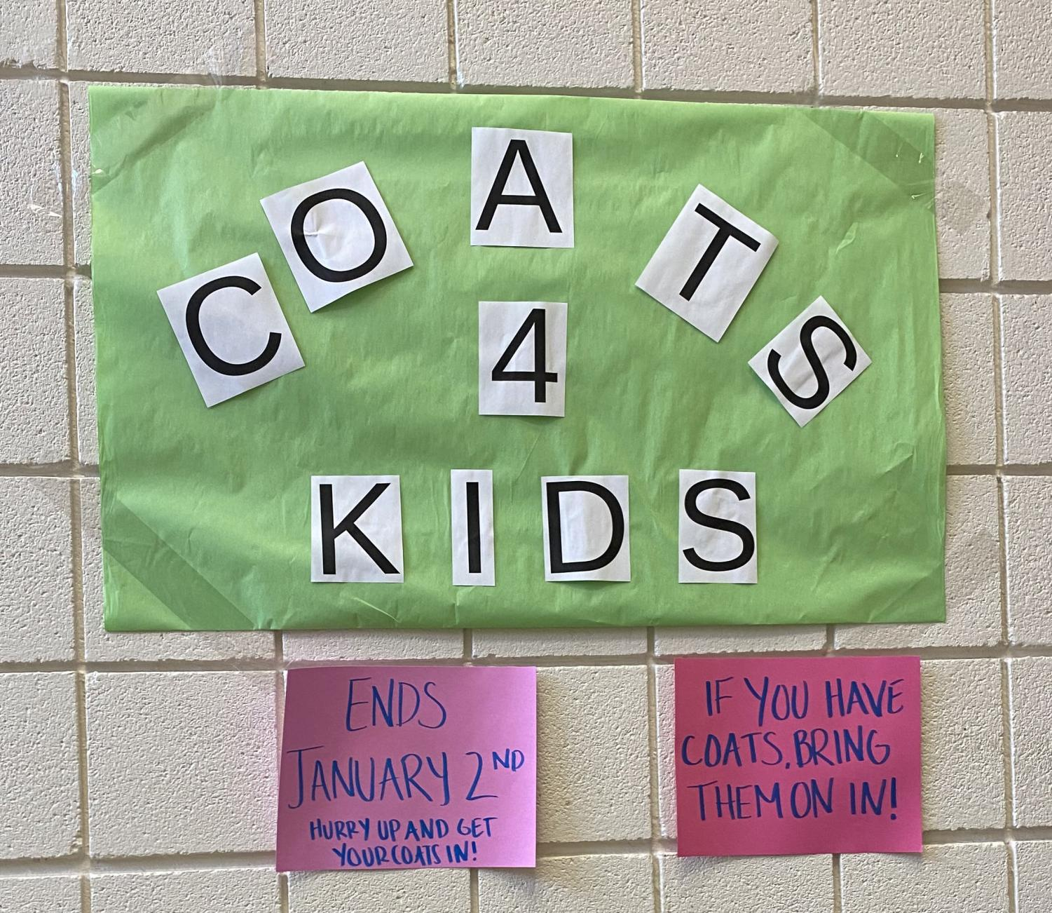 The Coats for Kids drive at Watertown Middle School will end Jan. 2, 2020.