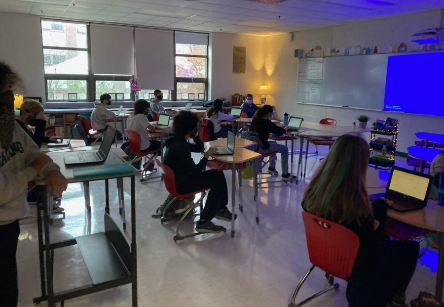 A day of hybrid learning inside WMS unlike any school day students have ever seen before